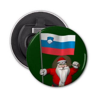 スロベニアの旗を持つサンタクロース 栓抜き