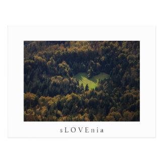 スロベニアの森林のハートの形 ポストカード