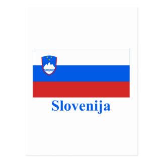 スロベニア語の名前のスロベニアの旗 ポストカード