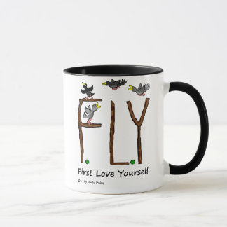 スローガンのはえの最初愛あなた自身 マグカップ
