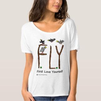 スローガンのはえの最初愛あなた自身 Tシャツ