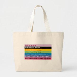 スローガンのロゴのショッピングの戦闘状況表示板 ラージトートバッグ