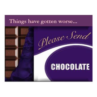 """スローガン""""チョコレート""""郵便はがき送って下さい ポストカード"""