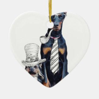 スワッグのおもしろいなパーティ犬のスタイルガラス セラミックオーナメント