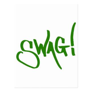 スワッグのラベル-緑 ポストカード