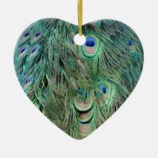スワッグの緑および青の孔雀の羽 セラミックオーナメント