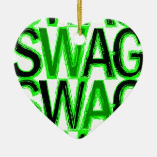 スワッグ-緑 セラミックオーナメント
