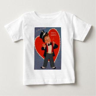 スーツのバレンタインカードのヴィンテージのレトロの男の子 ベビーTシャツ