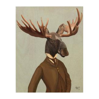 スーツのポートレートのアメリカヘラジカ ウッドウォールアート