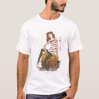 スーツケースに坐る若い女性のポートレート Tシャツ