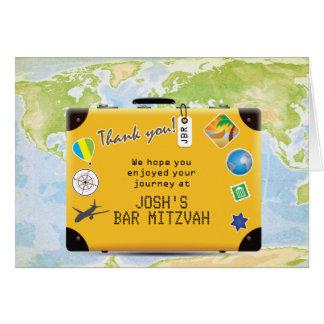 スーツケースの世界旅行テーマのバーバルミツワー カード