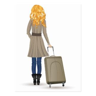スーツケースを持つブロンドの女性 ポストカード