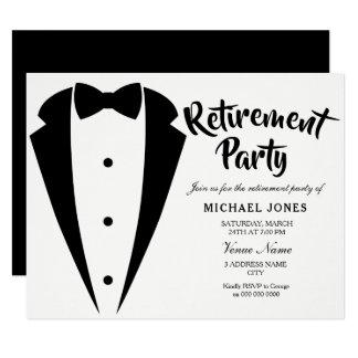 スーツ及びタイの仕事のオフィスの退職パーティーの招待 カード