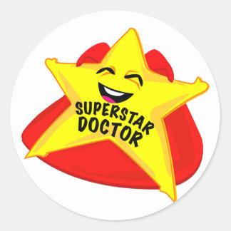 スーパースターの医者のおもしろいなステッカー! ラウンドシール