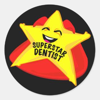 スーパースターの歯科医のおもしろいなステッカー! ラウンドシール