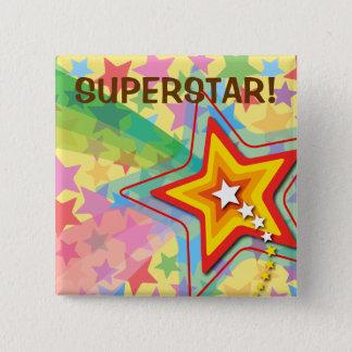 スーパースターの虹のカラフルなおもしろいの子供の好意ボタン 5.1CM 正方形バッジ