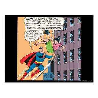 スーパーマンの喜劇的なパネル-事故を起こしがちなLois ポストカード