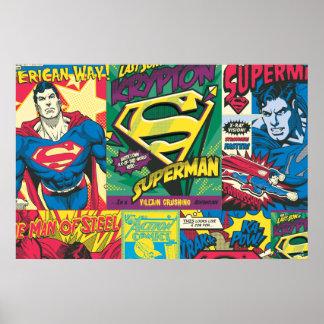 スーパーマンの漫画のパネル ポスター