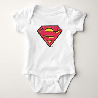スーパーマンのS盾|のクラシックなロゴ ベビーボディスーツ