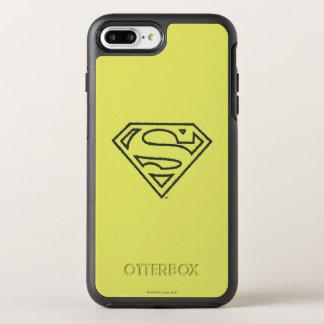 スーパーマンのS盾|のグランジで黒い輪郭のロゴ2 オッターボックスシンメトリーiPhone 8 PLUS/7 PLUSケース