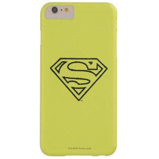 スーパーマンのS盾|のグランジで黒い輪郭のロゴ iPhone 6 PLUS ベアリーゼアケース