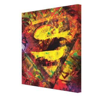 スーパーマンのS盾|のグランジなロゴ キャンバスプリント