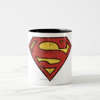 スーパーマンのS盾|のグランジなロゴ ツートーンマグカップ