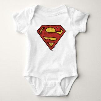 スーパーマンのS盾|のグランジなロゴ ベビーボディスーツ