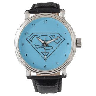 スーパーマンのS盾 のシンプルで黒い輪郭のロゴ 腕時計