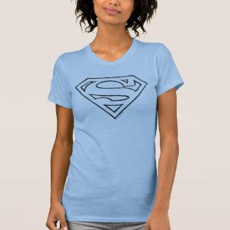 スーパーマンのS盾|のシンプルで黒い輪郭のロゴ Tシャツ