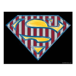 スーパーマンのS盾|のストライプのなロゴ ポストカード