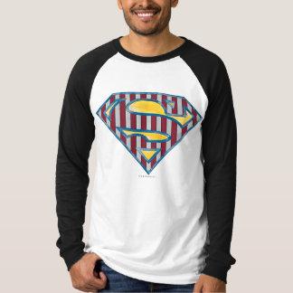 スーパーマンのS盾|のストライプのなロゴ Tシャツ