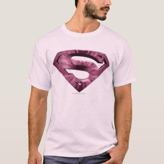 スーパーマンのS盾|のピンクの星の破烈のロゴ Tシャツ