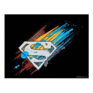 スーパーマンのS盾|のペンキの縞のロゴ ポストカード