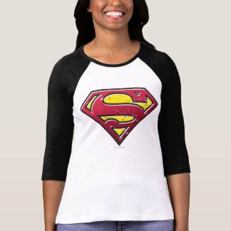スーパーマンのS盾|の傷のロゴ Tシャツ