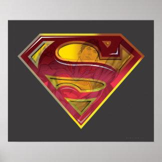 スーパーマンのS盾 の反射のロゴ ポスター