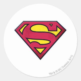 スーパーマンのS盾|の土のロゴ ラウンドシール