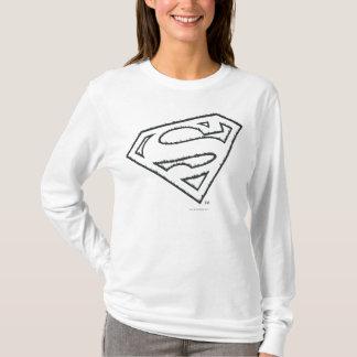 スーパーマンのS盾|の横にグランジなロゴ Tシャツ