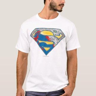 スーパーマンのS盾|の灰色の黄色く赤く黒い組合せのロゴ Tシャツ