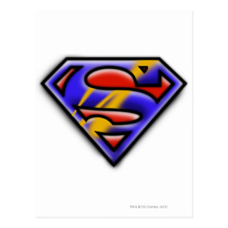 スーパーマンのS盾 の紫色のエアブラシのロゴ ポストカード