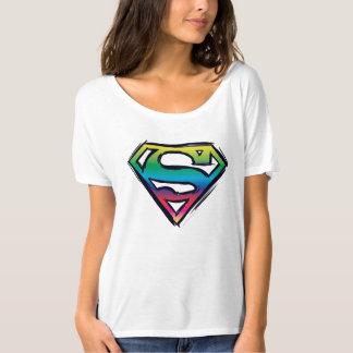 スーパーマンのS盾|の虹のロゴ Tシャツ