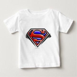 スーパーマンのS盾|の赤いエアブラシのロゴ ベビーTシャツ