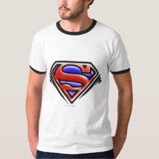 スーパーマンのS盾|の赤いエアブラシのロゴ Tシャツ