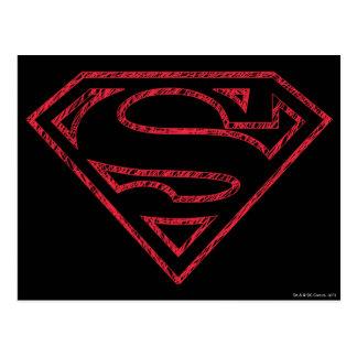 スーパーマンのS盾 の赤い輪郭のロゴ ポストカード