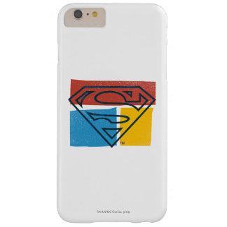 スーパーマンのS盾|の赤く青く黄色いブロックのロゴ スキニー iPhone 6 PLUS ケース