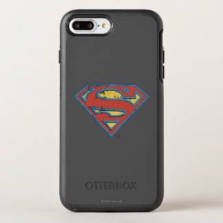 スーパーマンのS盾|の青い輪郭のグランジなロゴ オッターボックスシンメトリーiPhone 8 PLUS/7 PLUSケース