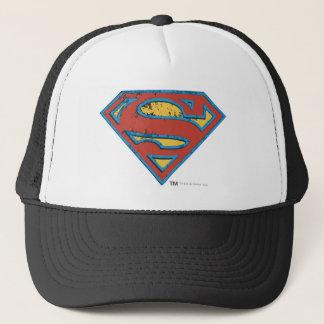 スーパーマンのS盾 の青い輪郭のグランジなロゴ キャップ