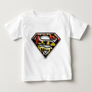 スーパーマンのS盾 の黒い輪郭の落書きのロゴ ベビーTシャツ