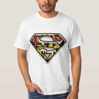 スーパーマンのS盾|の黒い輪郭の落書きのロゴ Tシャツ