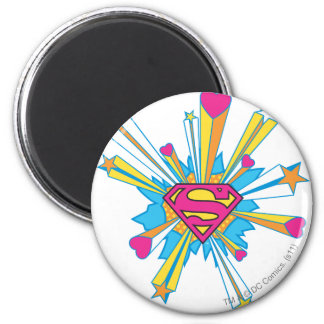 スーパーマンはハートのロゴの|のピンクを様式化しました マグネット